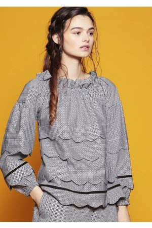 MARAINA LONDON ELENA printed cotton ruffled blouse with scallop edge