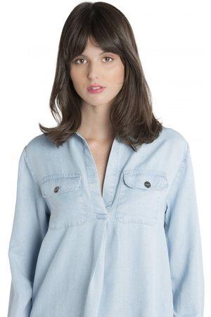 MAX & MOI Heming Denim Frayed Shirt