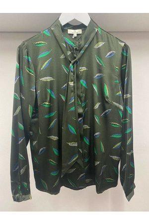 CHARLOTTE Leaf Print Bow Silk Blouse 2426