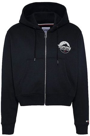 Tommy Hilfiger Zip-thru cropped hoody, Colour: BDS BLK
