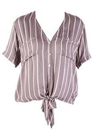 Beach Gold Women Tops - OUTLET Beachgold Resort Silk Stripe Tie Top