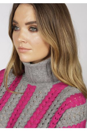 Adeela Salehjee Stockholm Pink Roll Neck Jumper, Product Colour: Pink / Grey