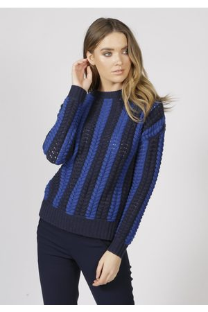 Adeela Salehjee Malmo Cable Knit Jumper, Product Colour: Navy / Cobalt