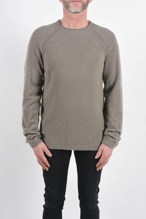 Daniele Fiesoli Men Tops - Boiled Wool Round Neck Knit Taupe Colour: Taupe