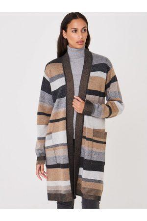 REPEAT cashmere Stripe Open Midi Cardigan Colour: