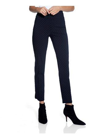 "Up Pants 67026 Flocked Dot Techno 28"" Leg Petal Slit Trousers - Navy"