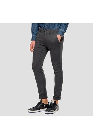 Replay Slim-fit hyperflex zeumar chino, Colour: CHARCOAL