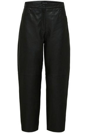 SELECTED SLFAGNES CROPPED LEATHER PANT