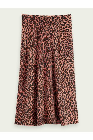 Scotch&Soda Women Printed Skirts - Scotch & Soda Drapey Leopard Print Midi Skirt