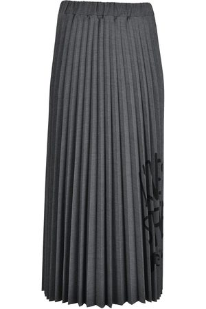 OTTOD'AME Pleated Love Logo Skirt Smoke