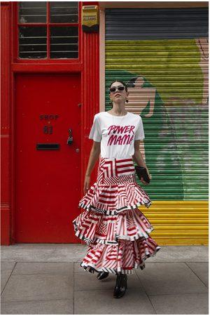 Siobhan Molloy London Ellie Tiered Geo Baby Print Cotton Poplin Maxi Skirt