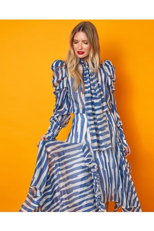Siobhan Molloy London Gracie Abstract Print Asymmetric Midi Skirt