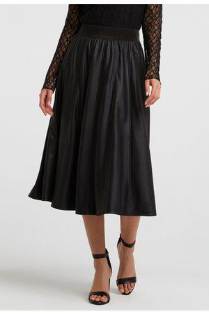 YAYA Women Leather Skirts - Faux leather A-line midi skirt