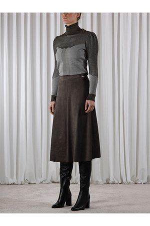 Rino and Pelle Women Leather Skirts - Rino & Pelle RANOMI Faux Suede Circle Skirt Dark Olive