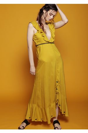 MARAINA LONDON MIRENE mustard ruffled gathered dip-hem maxi dress
