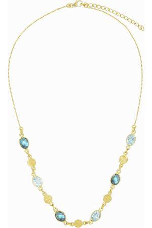 Dinari Jewels Aquamarine Labradorite Textured Coin Necklace