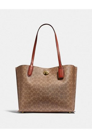 Coach Willow Canvas Tote Carryall Colour: Tan/Rust