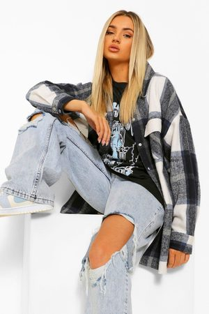Boohoo Womens Brushed Flannel Shacket - - S