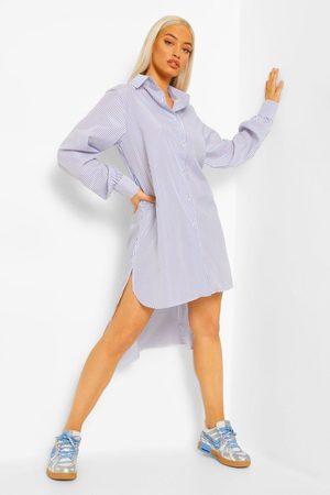 Boohoo Womens Stripe Super Oversized Shirt Dress - - 4