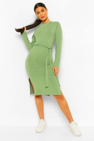 Boohoo Womens Long Sleeve Belted Midi Dress - - 4