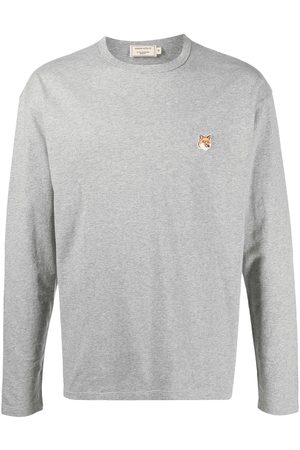 Maison Kitsuné Embroidered-logo long-sleeve top - Grey