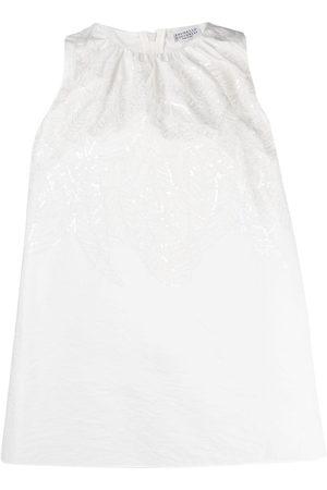 Brunello Cucinelli Embroidered sleeveless tank top - Neutrals
