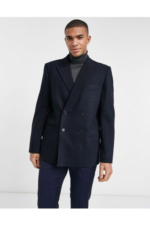 ASOS Oversized double breasted suit jacket in twill windowpane plaid in navy