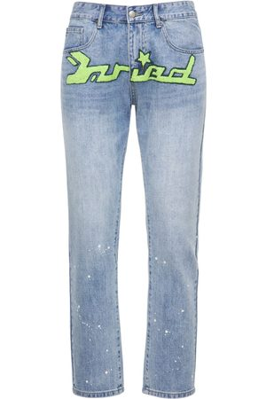 MAISON EMERALD Men Straight - Logo Washed Loose Straight Jeans