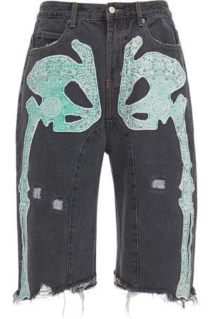 MAISON EMERALD Skeleton Patches Washed Denim Shorts