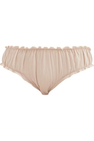 Loup Charmant Frilled Organic-cotton Bloomer Briefs - Womens - Light