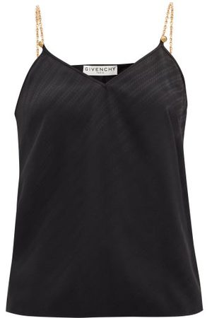 Givenchy Women Camisoles - Logo-jacquard Chain-strap Silk Cami Top - Womens