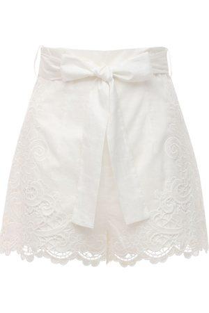 ZIMMERMANN Women Shorts - Lulu Scalloped Cotton Shorts
