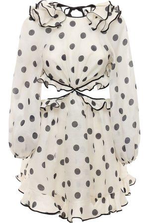 ZIMMERMANN Women Party Dresses - The Lovestruck Ruffled Linen Mini Dress