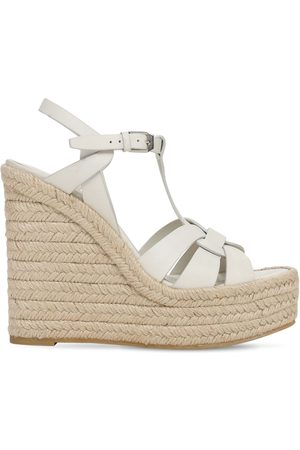 Saint Laurent 120mm Leather Espadrille Wedges