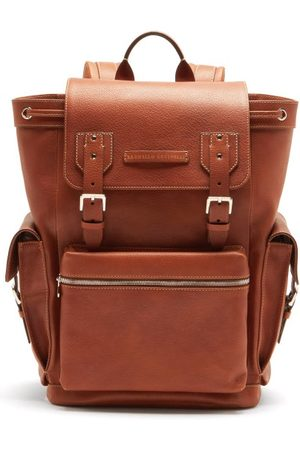 Brunello Cucinelli Men Rucksacks - Leather And Perforated-suede Backpack - Mens