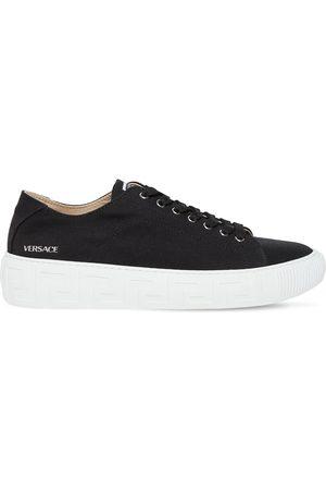 VERSACE Canvas Low Top Sneakers W/greca Sole