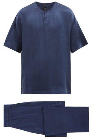 Lahgo Men Pajamas - Silk Short-sleeved Pyjamas - Mens - Navy
