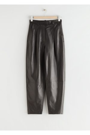& OTHER STORIES Tapered Banana Leg Leather Trousers