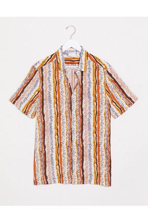 ASOS Regular standard collar shirt in geo-tribal pattern stripe