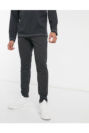 Only & Sons Stretch stylish pants in dark pinstripe-Grey