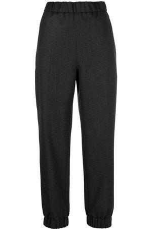 Ganni High-waisted track pants - Grey