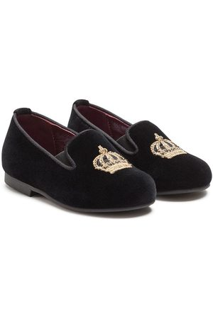 Dolce & Gabbana Boys Shoes - Crown-embroidered slippers