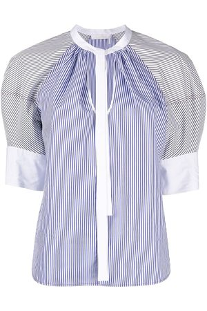 Chloé Women Blouses - Puff sleeve striped cotton blouse