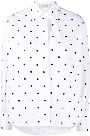 VALENTINO Sequin polka dot embroidered shirt