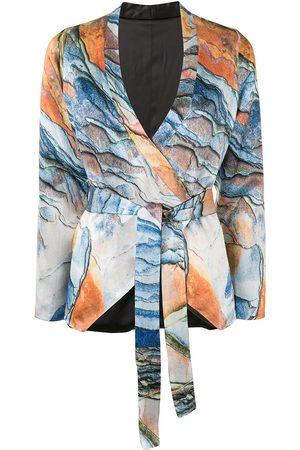 Lisa Von Tang Graphic-print tie-waist jacket - Multicolour
