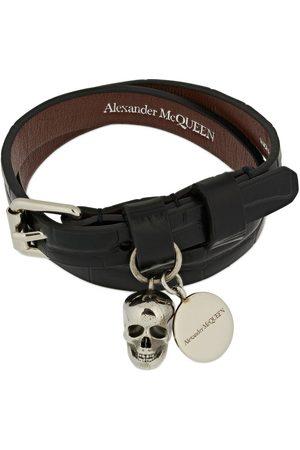 Alexander McQueen Croc Embossed Leather Bracelet