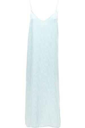 Palm Angels Monogram Jacquard Satin Midi Dress