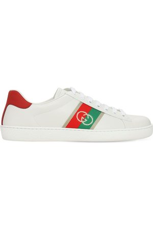 Gucci New Ace Gg Web Leather Sneakers