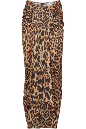 Paco rabanne Leopard Printed Light Satin Draped Skirt