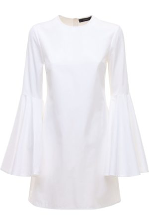 Ellery Dogma Poplin Mini Dress W/flared Sleeves